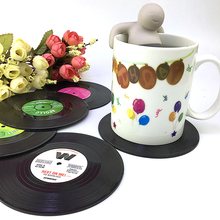 6Pcs/set Retro Vinyl Drinks Coasters Table Cup Mat Home Decor CD Record Coffee Drink Non-slip Fruit Placemat Tableware Mat