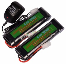 2X 8.4V 3800mAh NiMH Rechargeable Battery Cell Pack For RC Airsoft + Charger US/ EU/AU/UK Plug Adapter(China)