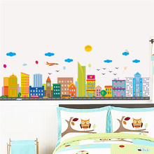 Colorful City Clouds Sun Wall Sticker Decals Window Living Room Bedroom Cafe Decoration Home Decor Poster Mural