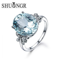 Buy SHUANGR Silver Color Exquisite Bijoux Fashion Square Wedding & Engagement Ring Made Cubic Zirconia Blue Crystal Ring Jewelry for $1.27 in AliExpress store