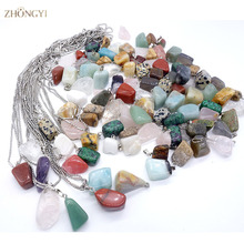 Wholesale 36pcs/lot mixed Point Natural stone crystal cornelian Irregular shape charms pendants necklace jewelry Suspension