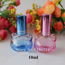 50pcs/lot Wholesale 10ml Perfume Bottle with Sprayer Cat Shaped Empty Glass Spray Refillable Bottles Cosmetic Parfum Container