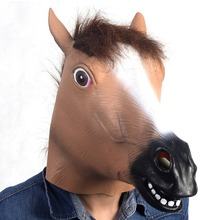 Hot Sale! Creepy Horse Mask Head Halloween Costume Theater Prop Novelty Latex Rubber Animal Mask Free Shipping(China)
