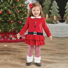 2pcs Baby Girls Boutique Xmas Outfits Dress + Stripe Pants Kids   Clothes Set Outfits Toddler Kids Baby Girls Clothing Suit