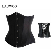 LAUWOO Goth Satin Black Corsets Sexy Lingerie Women Steel Waist Underbust Bustiers Plus Size Corselets Top S- 6XL free shipping