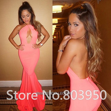 Keyhole Sexy Party Dress For Girls Halter Backless Long Mermaid Vestidos Sociais 2017 New Cheap Prom Dress