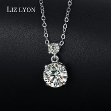 Sparkling Round Cut Clear CZ Diamond Necklace  Collier For Women Anti Allergy Classic 2ct Hearts and Arrows CZ Pendant Necklace