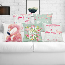 Pink Flamingo Couple Love animal wholesale wedding gift cushion cover home car office pillow cover sofa decorative pillow case(China)