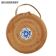 BEARBERRY 2017 high quality Mini Circle Straw Bags Handmade High Quality Beach Handbags Travel Rattan Tote Knitted Hand Bag