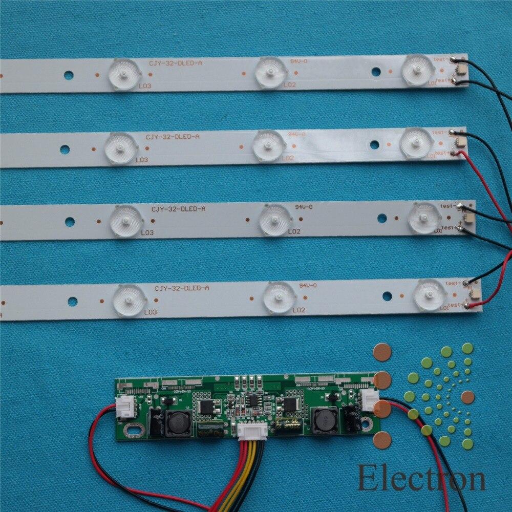 32inch 63cm LED Backlight Lamps kit Aluminum Board w/ Optical Lens Fliter for TV Monitor Panel 4pcs LED strips + driver board<br><br>Aliexpress