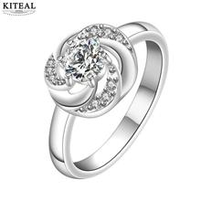 KITEAL online shopping india silver White size 8 rings for women Austria Crystal Fashion small rose flower opal joias(China)
