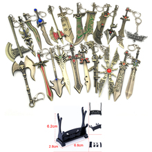 LOL Game Weapon Keychain Knife Holder Action Figures Anime Toys Pendent Garen Leona Xin Zhao Riven Keyring Toy For Children Gift(China)