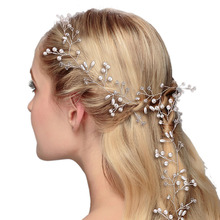 Handmade Bride Long Hairband Lady Hair Vine Head Chain Women Headpiece For Wedding Party Photography Hairs Accessories H(China)