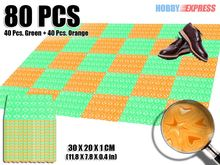 New 80 pcs Heart Pattern Green and Orange Combination Plastic Flooring Interlocking Mat  30 x 20 cm KK1130