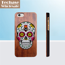 Wholesale 100pcs/lot Techase Wooden Phone Cases For iPhone 4 5 6 7 Case Bamboo Back Covers For Samsung Galaxy S7 Custom Logo(China)