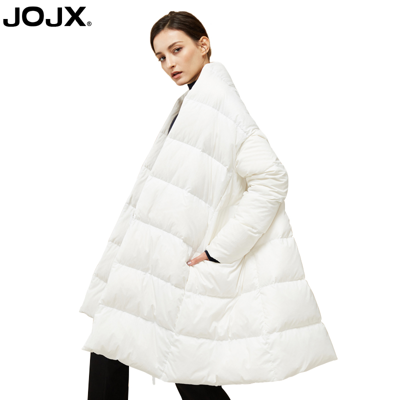 JOJX 2018 Autumn and Winter New Style Parka Jacket Elegant Solid Color Bow Tie Long Jacket Women Winter Fashion Streetwear Coat