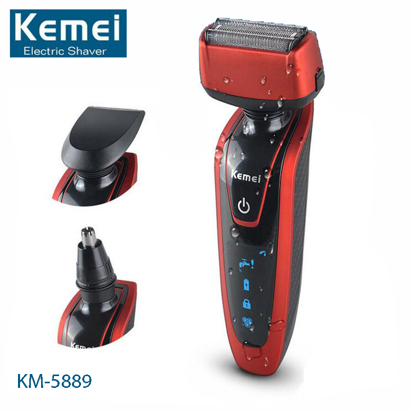 Kemei KM-5889 3 In 1 Electric Shaver Triple Blade Electronic Shaving Razors Mens Face Care Shaver Waterproof Rechargeable<br>