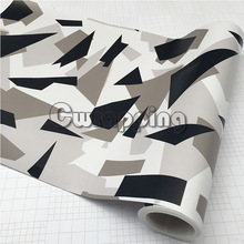 50cm x 2m/3m/5m Arctic Camo Film Sheet Black White Camouflage Vehicle Wrap With Air Bubble Free Motorbike Scooter Decal Rolls