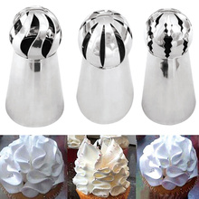 3Pcs/lot Stainless Steel Russian Ball Torch Nozzles Flower Fondant Icing Piping Tips Cream Bakery Pastry Cupcake Decoration Tool(China)