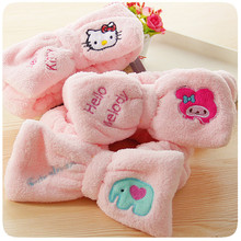 Cute Cartoon Cat Pink Women's Coral Velvet Bows Elastic Headband Bath Shower Cap Wash Face Makeup Beauty Exercise Hair Headwear(China)