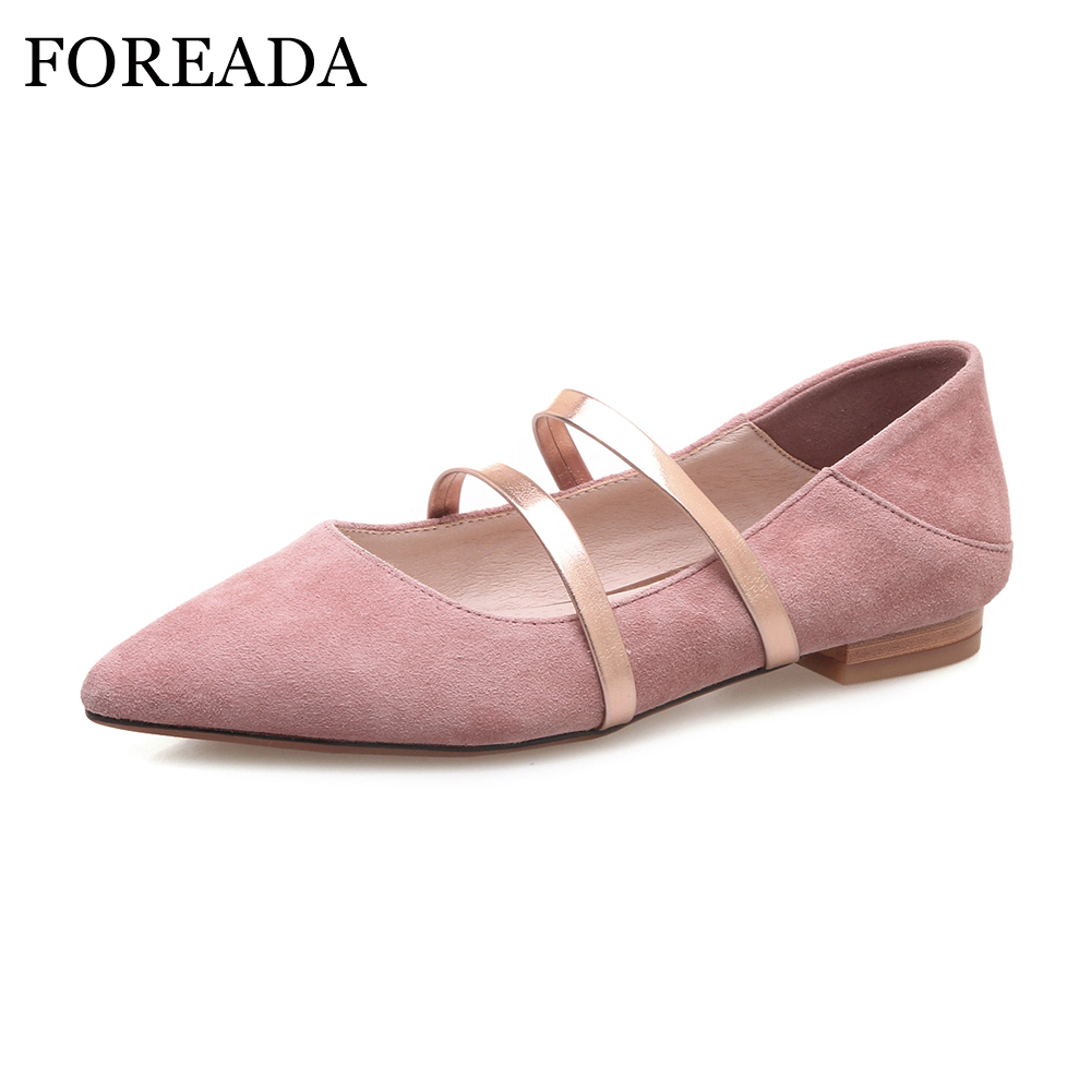 FOREADA Natural Leather Shoes Women Flats Slip on Pointed Toe Casual Kid Suede Shoes Spring Pink Slip Shoes Female Black Autumn <br>