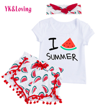 2017 Spring Baby Girl Clothes Sets Summer Outfits Hairand 3Pcs Short Sleeve Swing Top Shorts Clothing Set for Children 1-4T