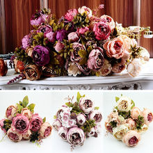 10Head of Bouquet Vintage Artificial Peony Silk Flower Room Wedding Floral Decor