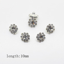 10Pcs 10mm DIY Round metal Rhinestone button for Sewing Rhinestone  Flower Button wedding embellishment headband Accessories