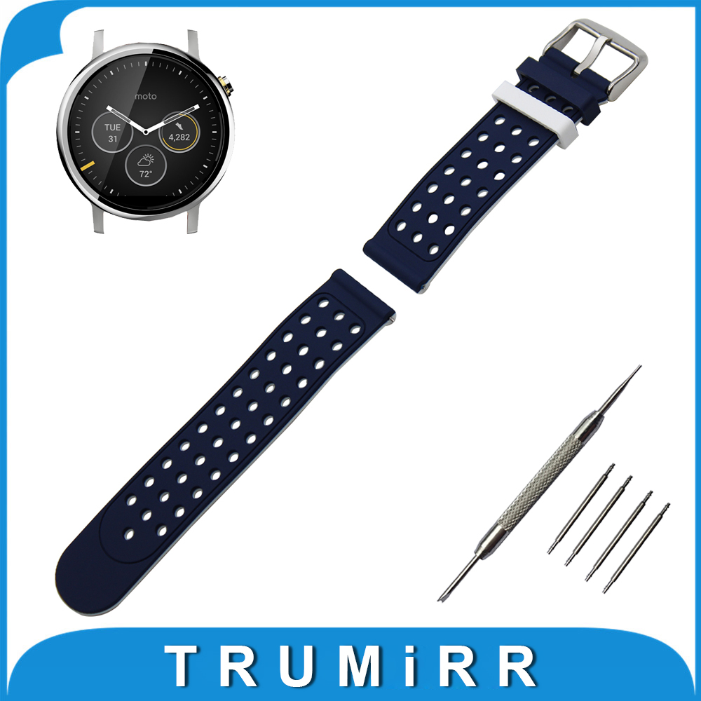 22mm Silicone Rubber Watch Band Double Side Wearing for Moto 360 2 46mm 2015 Strap Wrist Belt Bracelet + Tool + Spring Bar<br><br>Aliexpress