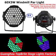 2017 Free Shipping 8Pack 60X3W RGB 3IN1 Led Par Lights 200W High Power LED Par Cans Strobe Effect DMX512 DJ Disco Equipments