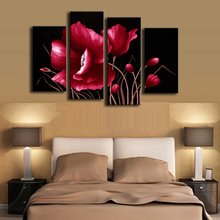 Printed Oil Art Painting Red Flower In Black 4 Pcs/Set Combined Canvas Paints Living Room Bedroom Decoration