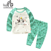 Retail 1-10 years cotton long-sleeved T-shirt home service + pants printed owl children spring fall autumn