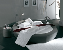 contemporary modern grey velvet fabric round bed bedroom furniture Made in China
