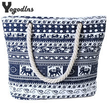 2017 New fashion Canvas Casual Bags for Women Handbag Shoulder Bags Elephant Flower Pattern Large Female Shoulder Portable Bag(China)