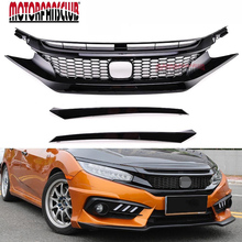 JDM Type R Gloss Black Front Hood Honeycomb Mesh Grill Protector Cover For Honda Civic 10TH 2016 2017