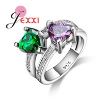 JEXXI 2017 Newest Charm Women/Girls Finger Jewelry 925 Sterling Silver Heart Shape Rings With Green & Purple Crystal Wholesale