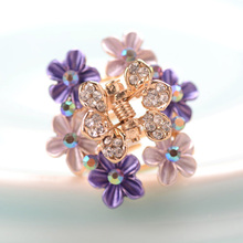 Retro Flower Painting Hair Ornaments Rhinestone Claw Clip Hair Accessories Women Gold Clip Hair Claw Jewelry