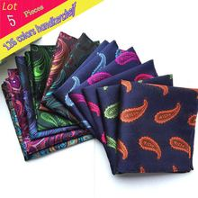 (5 pcs/lot) Wholesale Men's 100% Silk Handkerchief Luxury Paisley Floral Pocket square Chest Towel Business Wedding Party Hanky
