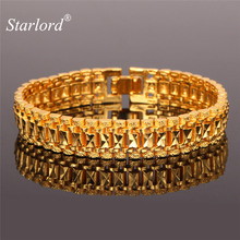 Starlord Yellow Gold Color Chain Bracelet 19cm Long 12MM Width 1:1 Golden Link Chain For Men/Women Chunky Jewelry Gift H450(China)