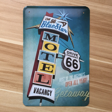 Free ship Vintage tin sign metal painting USA Route 66 Car MOTEL plate retro bar pub cafe Restaurant decoration wall plaque