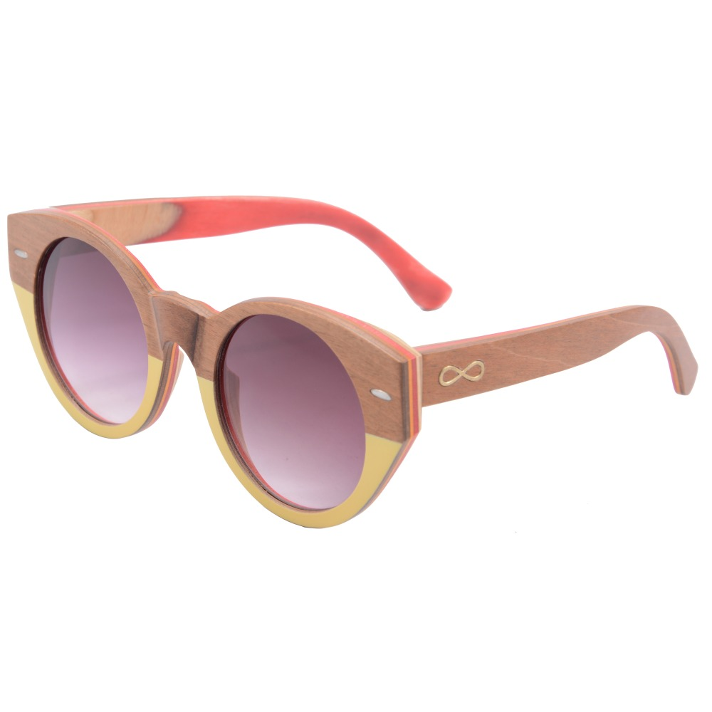 pink sun glasses oversized  round big frame skateboard wooden eyewear women men CR39 lens with logo bamboo box 5003<br><br>Aliexpress