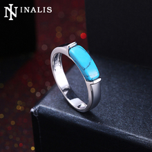 INALIS New Fashion Turquoises Stone Rings for Women White Gold & Black Gold Color Wedding Band Rings Minimalist Design Jewelry