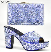 Italian Shoes with Matching Bags Shoe and Bag Set New 2017 Rhinestone Blue Color Shoe and Bag Set Nigerian Shoe and Matching Bag