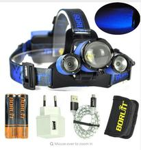 12000LM xml-3xL2 led Zoom Headlamp white green red blue Fishing light Hunting lamp headlight + 18650 Battey + USB + charger wire