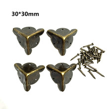 30mm antique furniture  Metal Corner protector Security angle Box corners Feet care Small  Hardware accessories 10pcs/lot