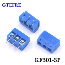 100pcs KF301-3P Plug-in Splice Type KF301-5.0-3P KF301 Screw 3Pin Pitch 5.0mm Straight Pin PCB Screw Terminal Block Connector