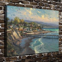H1250 Thomas Kinkade Capitola Village Scenery, HD Canvas Print Home decoration Living Room Bedroom Wall pictures Art painting(China)