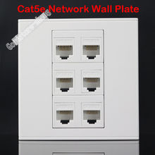 Wall Socket Plate 6 Ports CAT5E Cat5 RJ45 LAN Ethernet Network Outlet Panel Faceplate Home Adapter Plug Standard Wholesale Lots