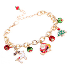 2017 New Christmas Gift Charm Bracelet Pulseras Mujer Bracelet Jewelry Santa Claus Christmas Tree Paracord  Bracelets For Women