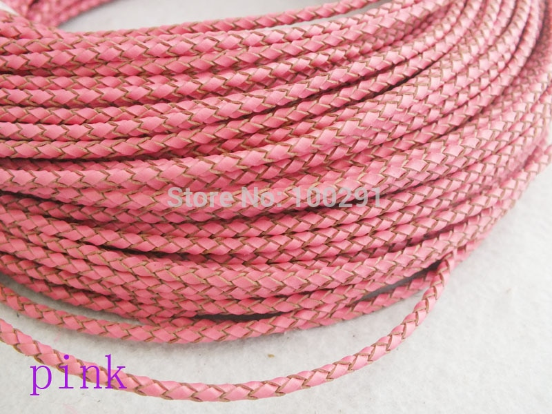 Free ship!!! 50 Meters High quality natural 3mm pink braided genuine leather cord  MN-3509